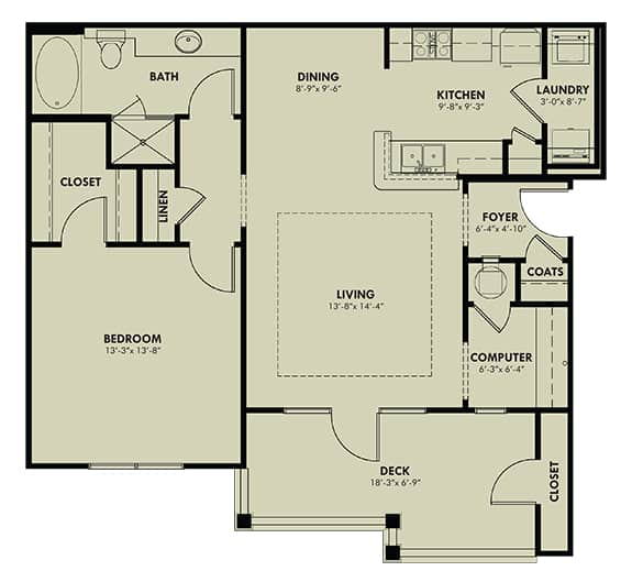One Bedroom (A) Approx. 906 sq. ft. with 169 sq. ft. Deck Rent From $845 Beds 1 Baths 1