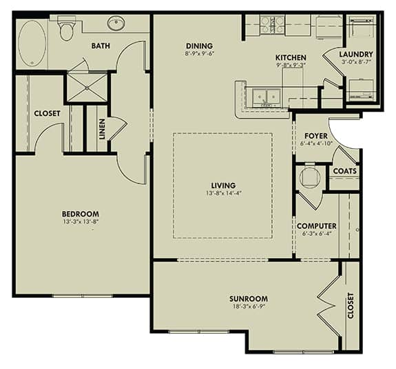 One bedroom with sunroom at RiverChase
