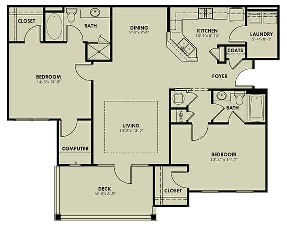 Two Bedroom (B) Approx. 1,311 sq. ft. with 152 sq. ft. Deck Rent From $1,015 Beds 2 Baths 2