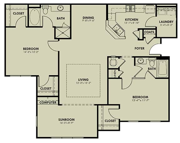 Two Bedroom (BSR) Approx. 1,463 sq. ft. with Sunroom Rent From $1,035 Beds 2 Baths 2
