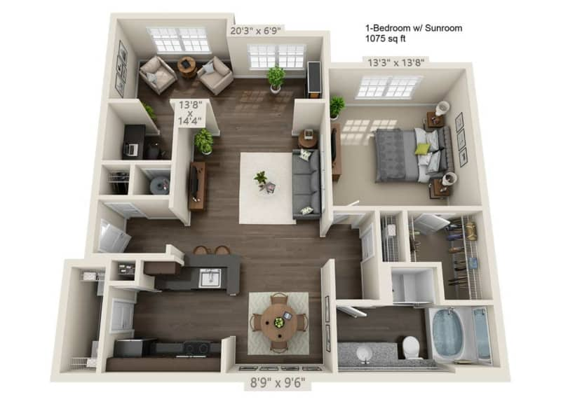 Greystone Vista One Bedroom Floor Plan with sunroom