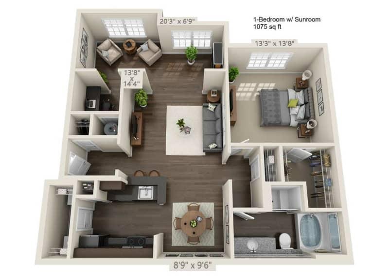 Greystone Properties Apartments Vista One Bedroom Floor Plan with sunroom