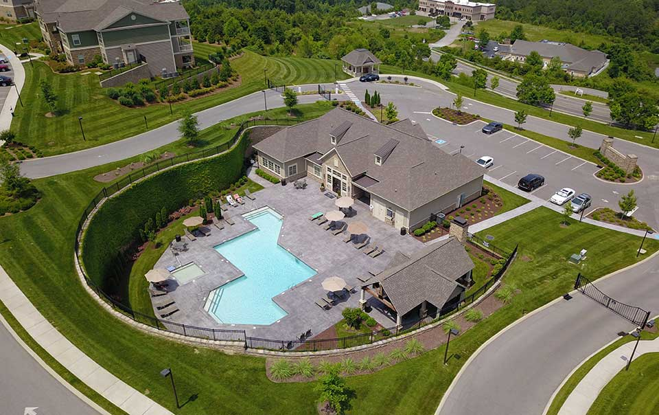 Greystone Apartments Knoxville, TN Pool area from the sky