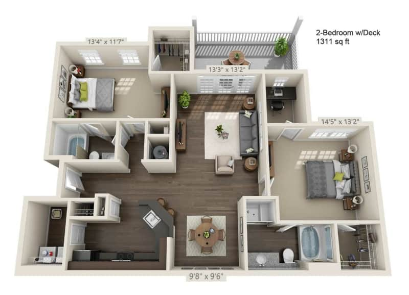 Greystone Properties Apartments Vista two Bedroom Floor Plan two baths with deck