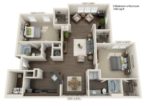Two Bedroom (BSR) Approx. 1,463 sq. ft. with Sunroom Rent From $1,405 Beds 2 Baths 2