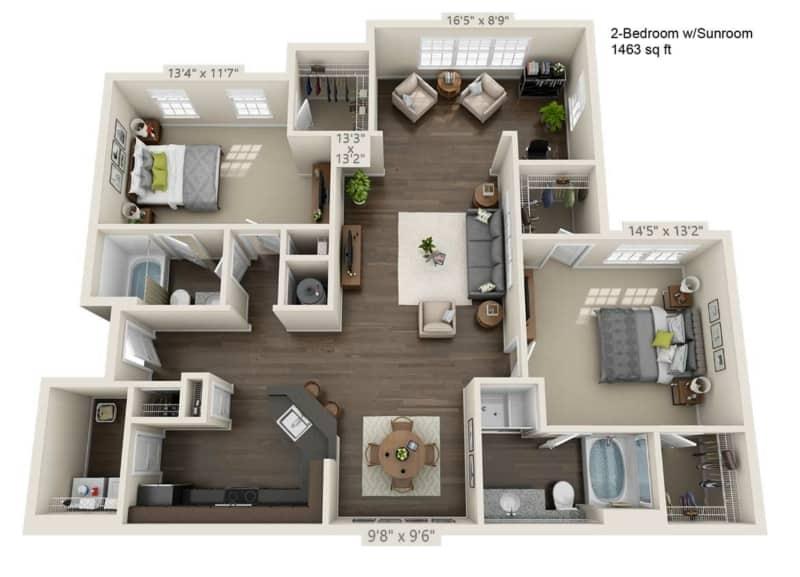 Greystone Properties Apartments Vista two Bedroom Floor Plan two baths sunroom