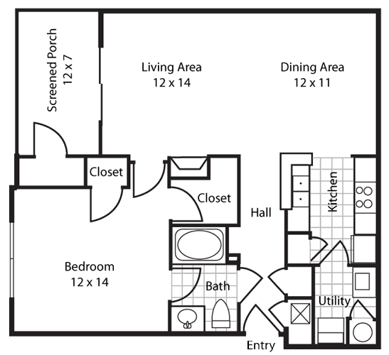 Gulf Breeze Reserve one bedroom floor plan Greystone Properties Apartments