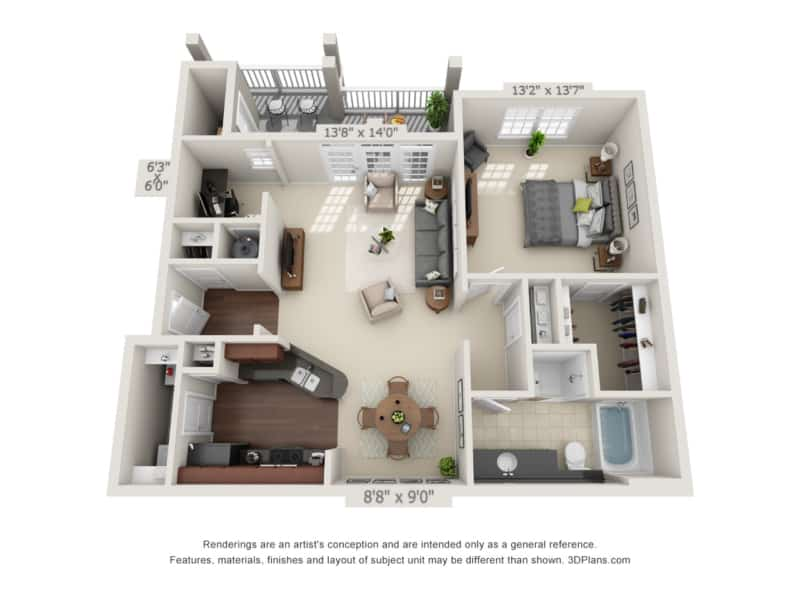 One bedroom with deck floor plan at Oakland apartments