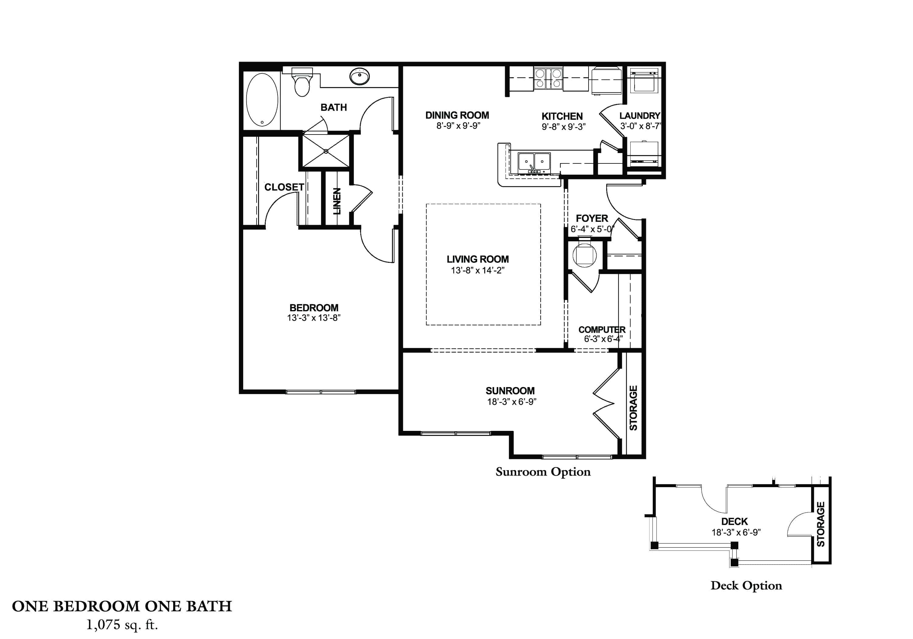 One Bedroom (A) - Phase II Approx. 906 sq. ft. with 169 sq. ft. Deck Rent From $895 Beds 1 Baths 1