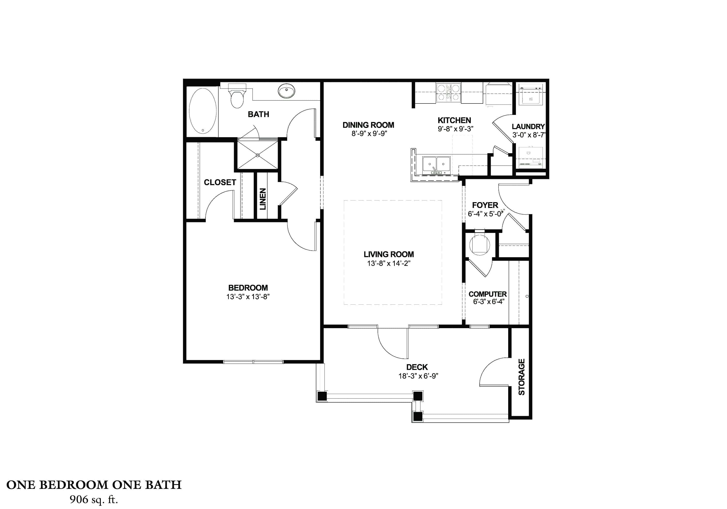One Bedroom (A) Approx. 906 sq. ft. with 169 sq. ft. Deck From $870 Beds 1 Baths 1