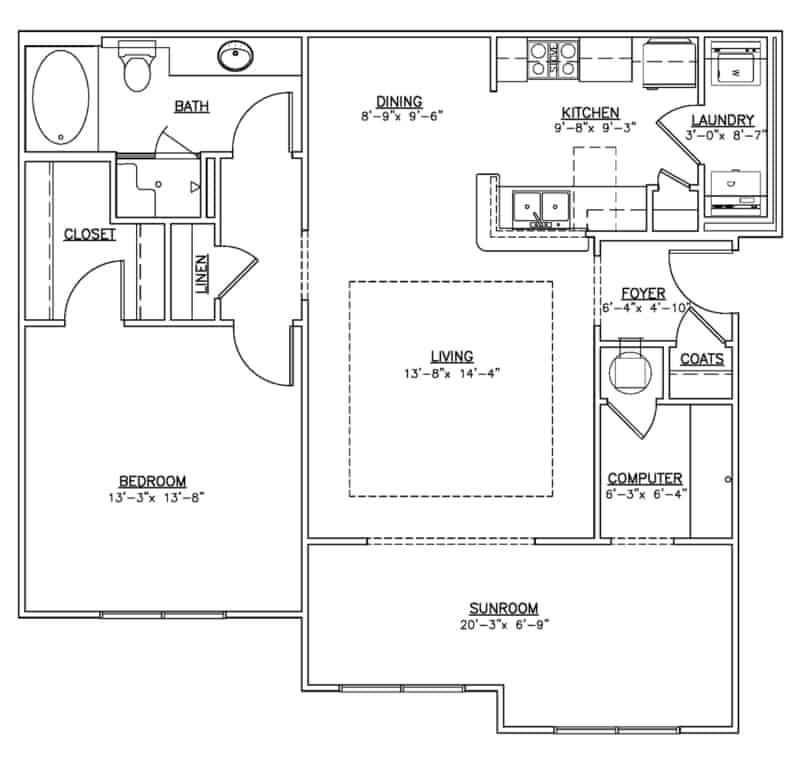 The other one bedroom floor plan