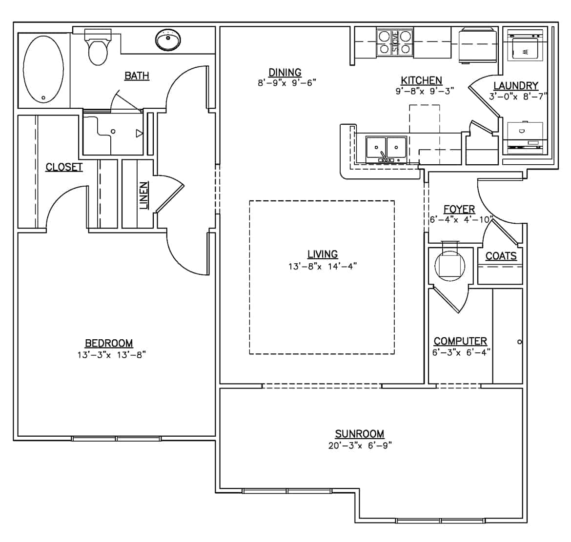 The other one bedroom floor plan