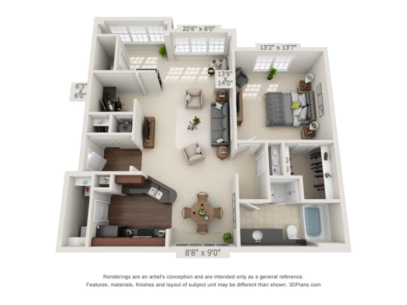 One Bedroom (ASR) Approx. 1,075 sq. ft. with Sunroom Rent From $890 Beds 1 Baths 1