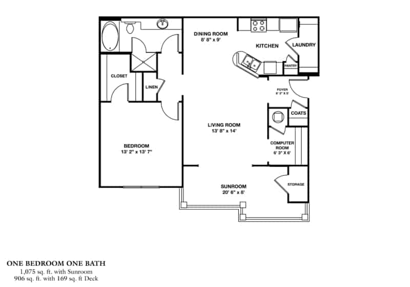 One Bedroom (ASR) Approx. 1,075 sq. ft. with Sunroom Beds 1 Baths 1