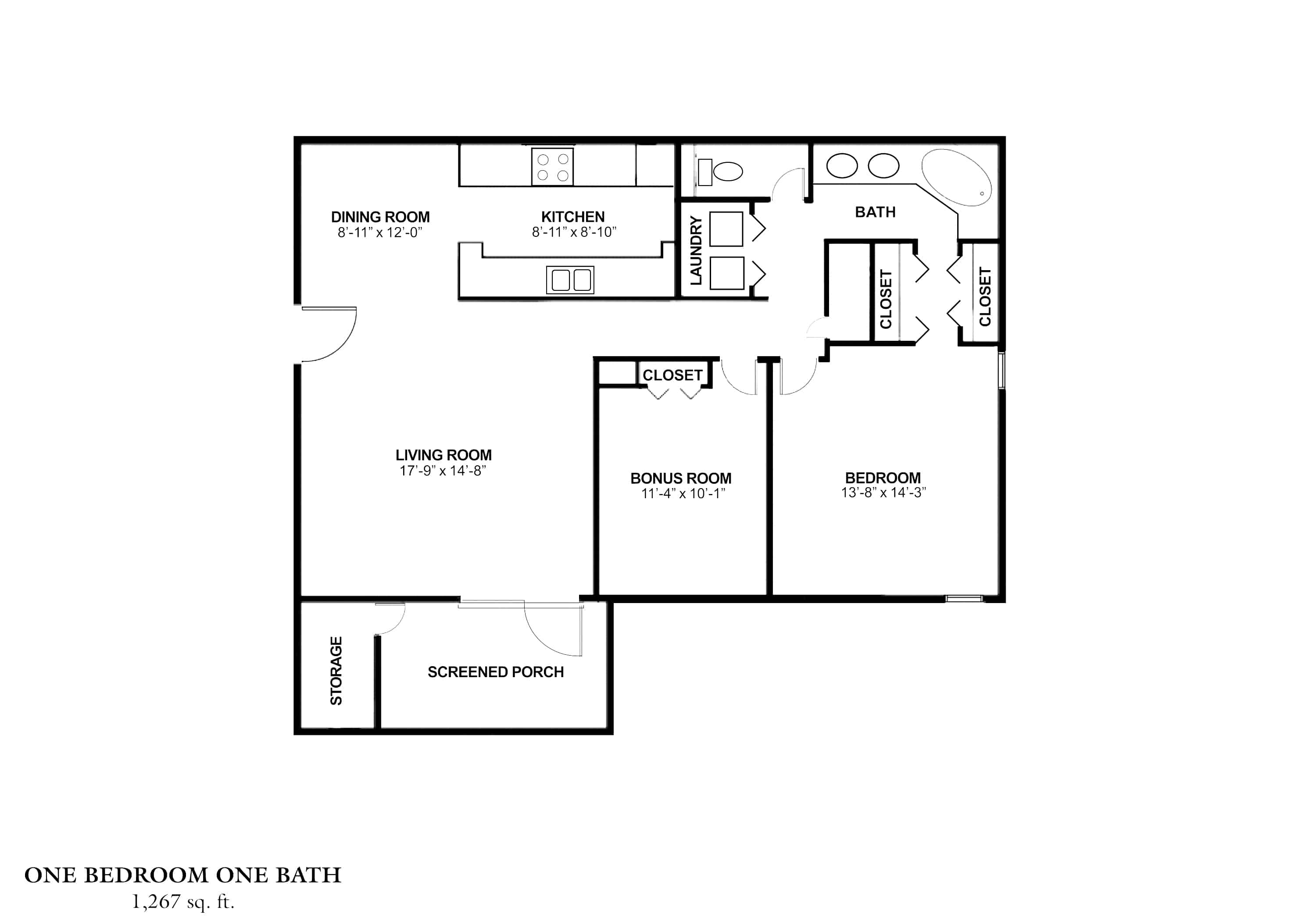 One Bedroom, One Bath with Bonus Room Approx. 1,267 sq. ft. Rent From $865-$910 Beds 1 Baths 1
