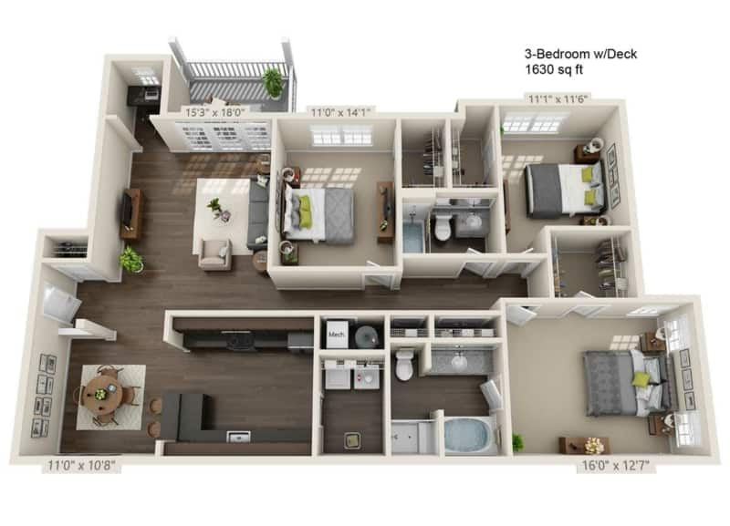 Greystone Vista three Bedroom Floor Plan three baths and deck