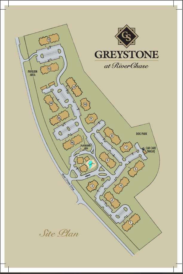 Greystone Properties RiverChase site plan layout of all apartments
