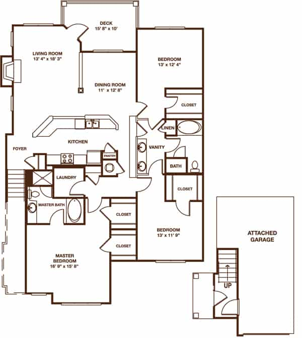 Three bedroom with attached garage floor plan