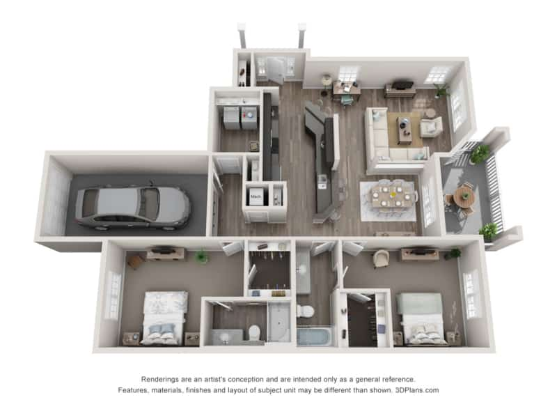 GREYSTONE POINTE APARTMENTS IN KNOXVILLE TN two bedroom floor plan attached garage same level
