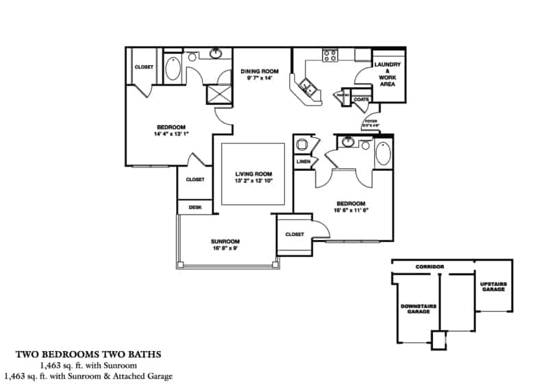 The Balkan/SR Approx. 1,463 sq. ft. with Sunroom Beds 2 Baths 2
