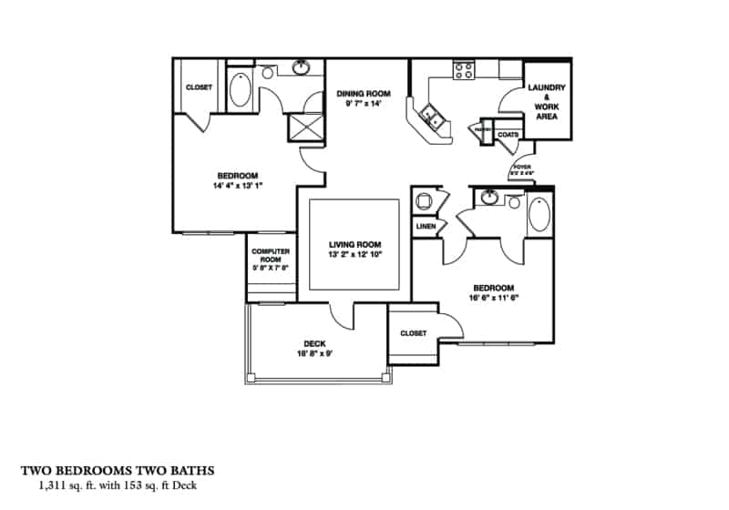 The Balkan Approx. 1,311 sq. ft. with 153 sq. ft. Deck Beds 2 Baths