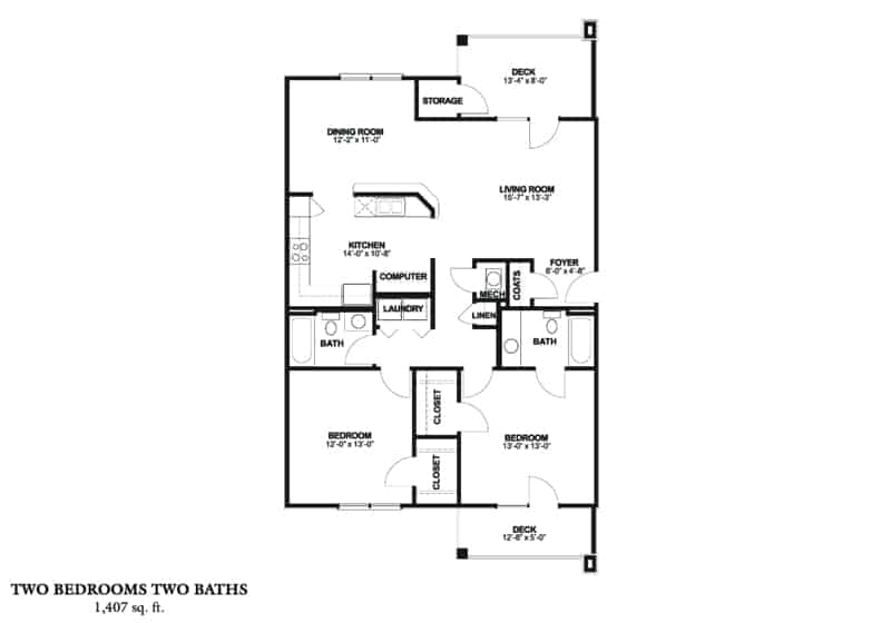 Greystone Properties Corporate Stay Two bedroom with deck floor plan.