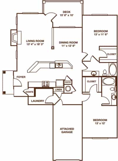 two bedroom The Cumberland floor plan