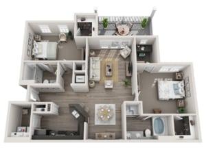 GREYSTONE POINTE APARTMENTS IN KNOXVILLE TN two bedroom floor plan deck garage