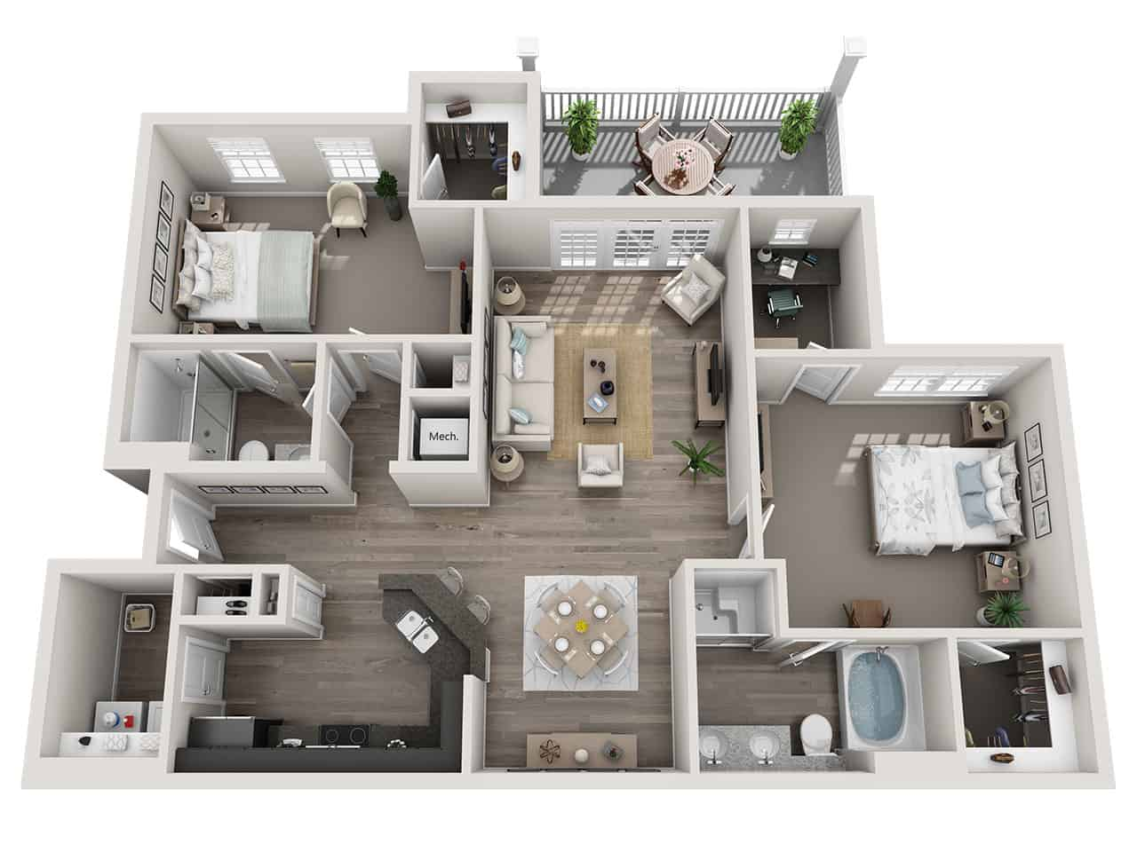 GREYSTONE POINTE APARTMENTS IN KNOXVILLE TN two bedroom floor plan