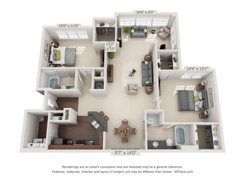 GREYSTONE POINTE APARTMENTS IN KNOXVILLE TN two bedroom floor plan garage