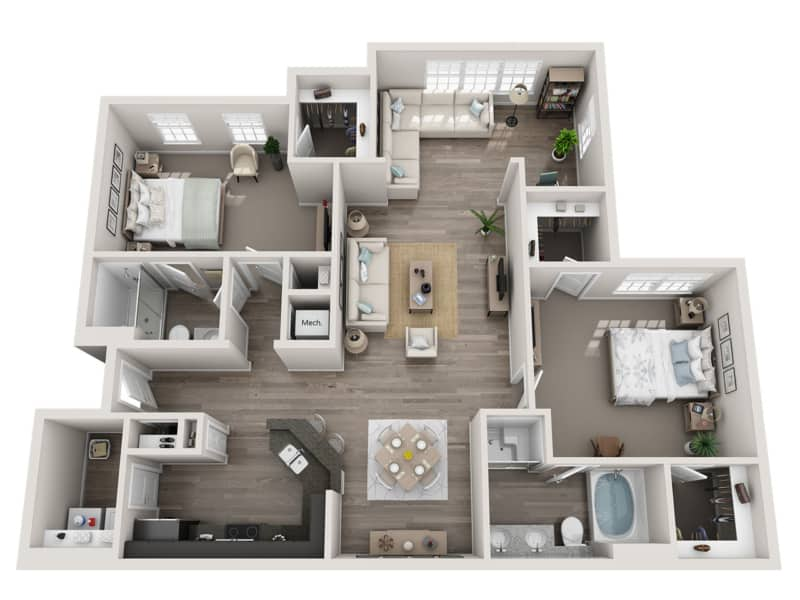 GREYSTONE POINTE APARTMENTS IN KNOXVILLE TN two bedroom floor plan sunroom