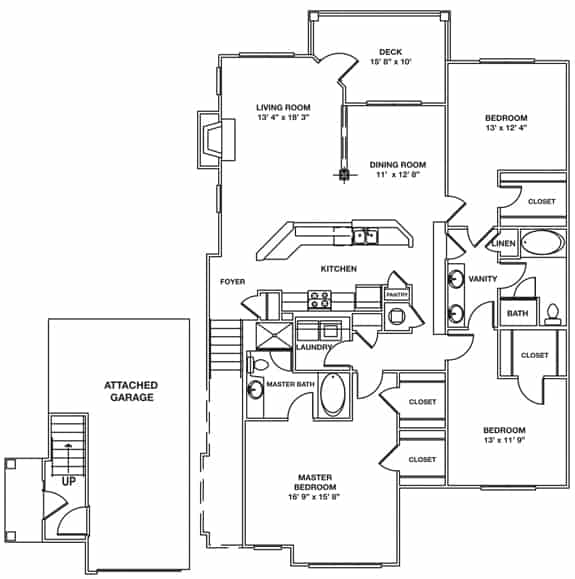 Greystone Properties Columbus, GA Apartments The Matterhorn Approx. 2,055 sq. ft. with 142 sq. ft. Deck and 311 sq. ft. Direct Entry Garage Beds 3 Baths 2