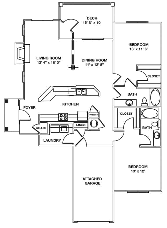 The McKinley Approx. 1,482 sq. ft. with 150 sq. ft. Deck and 255 sq. ft. Direct Entry Garage Beds 2 Baths 2