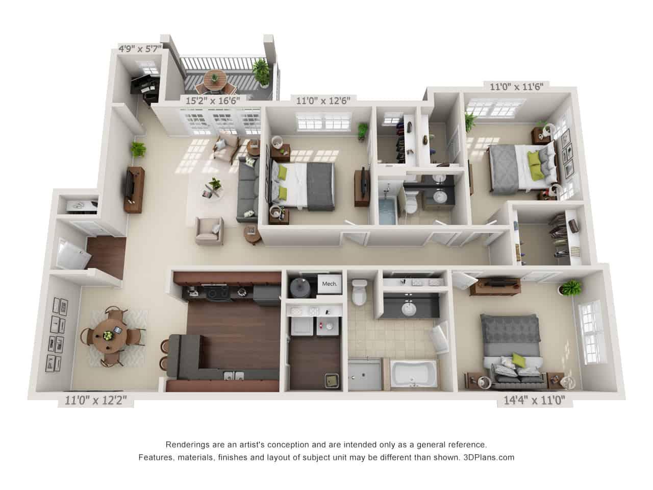 Three bedroom with deck floor plan