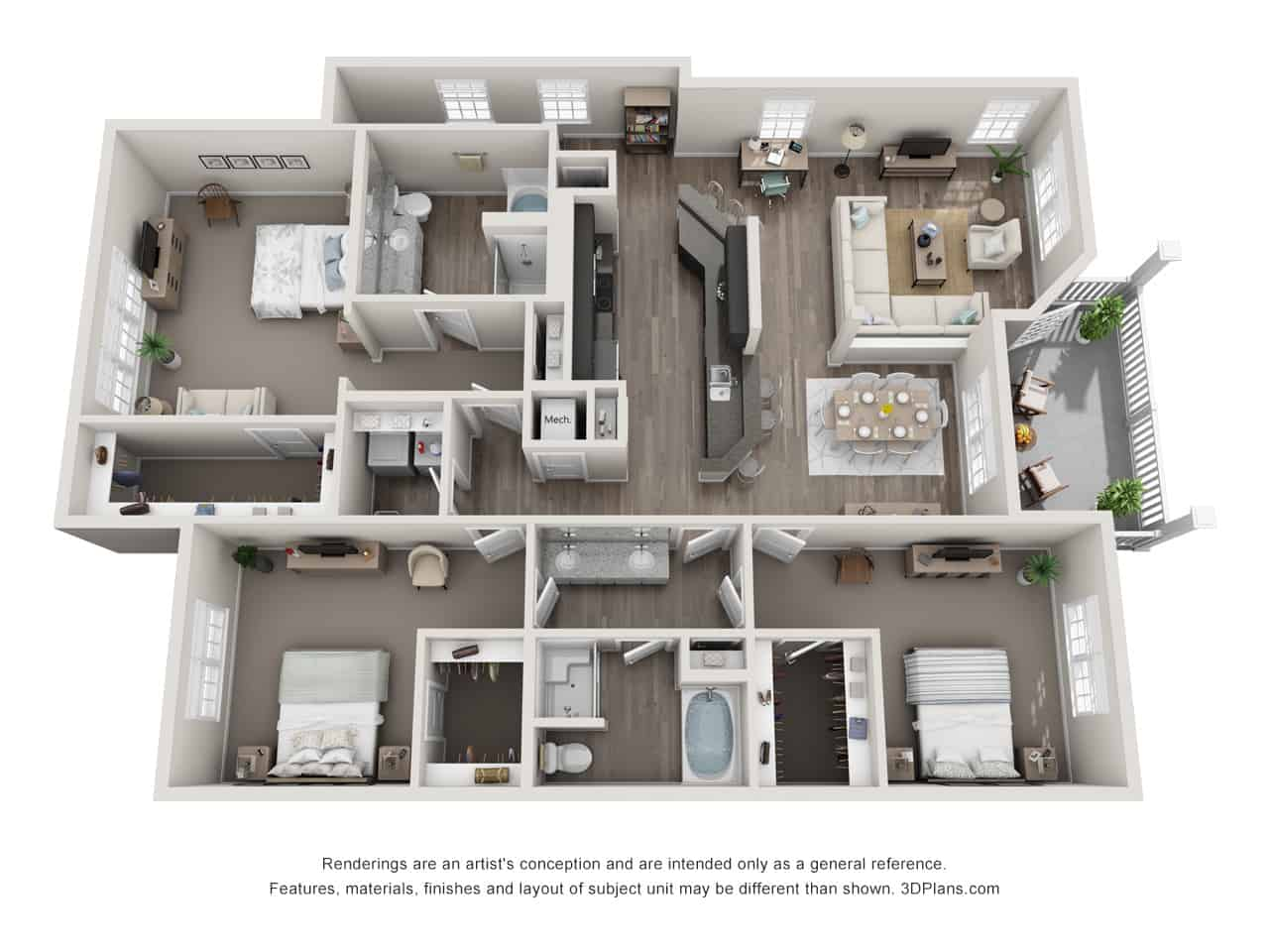 GREYSTONE POINTE APARTMENTS IN KNOXVILLE TN three bedroom floor plan attached garage