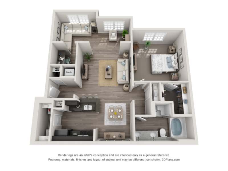 GREYSTONE POINTE APARTMENTS IN KNOXVILLE TN one bedroom floor plan sunroom