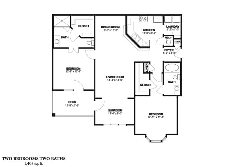 The Wedgewood Approx. 1,405 sq. ft. From $1,015 – $1,045 Beds 2 Baths 2