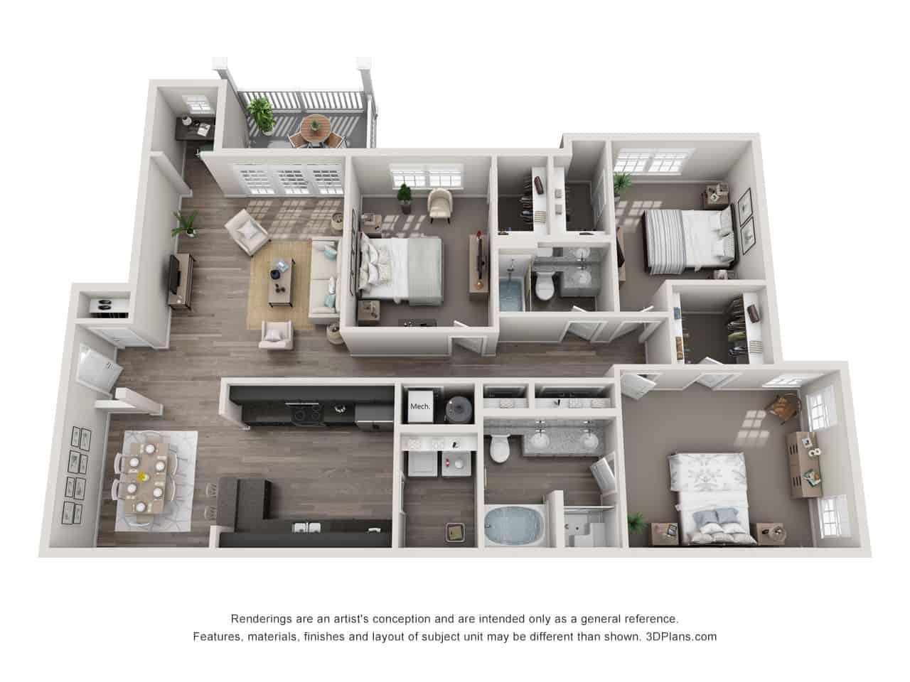 GREYSTONE POINTE APARTMENTS IN KNOXVILLE TN three bedroom floor plan deck