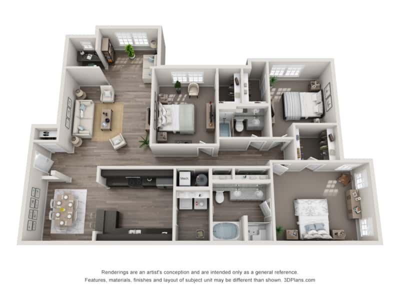 GREYSTONE POINTE APARTMENTS IN KNOXVILLE TN three bedroom floor plan
