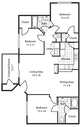 Reserve's three bedroom floor plan Greystone Properties Apartments Gulf Breeze