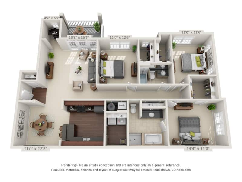 three bedroom with deck floor plan at Oakland apartments