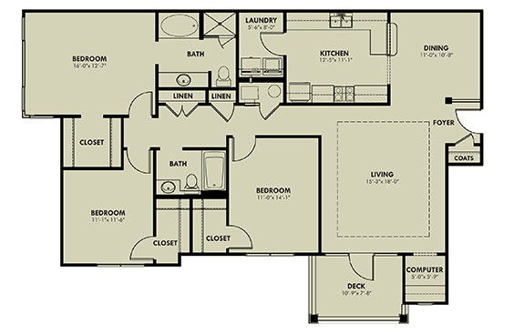 Three Bedroom (C) Approx. 1,630 sq. ft. with 86 sq. ft. Deck or Patio Rent From $1,170 Beds 3 Baths 2