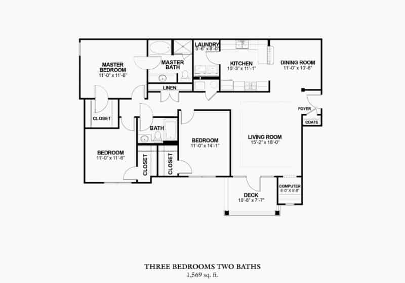 Three Bedroom (C) Approx. 1,655 sq. ft. Total – approx. 1,569 sq. ft. with 86 sq. ft. Deck or Patio< From $1,155 Beds 3 Baths 2 Apply Now