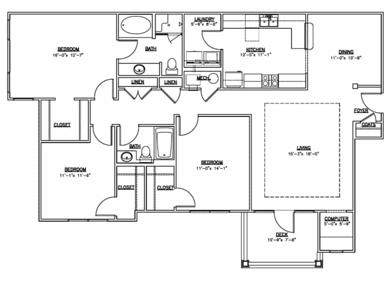 3 bedroom 2 bath floor plan