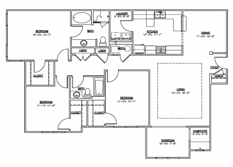 Three bedroom two bath sunroom floor plan