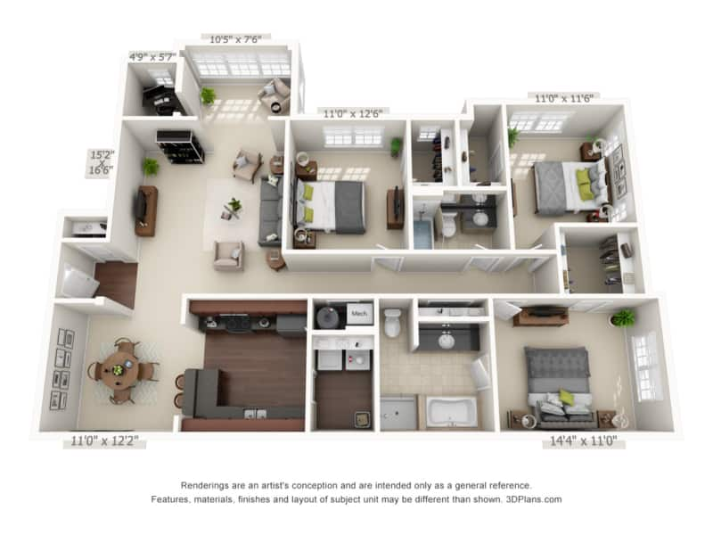 Three Bedroom (CSR) Approx. 1,716 sq. ft. Rent From $1,295 Beds 3 Baths 2