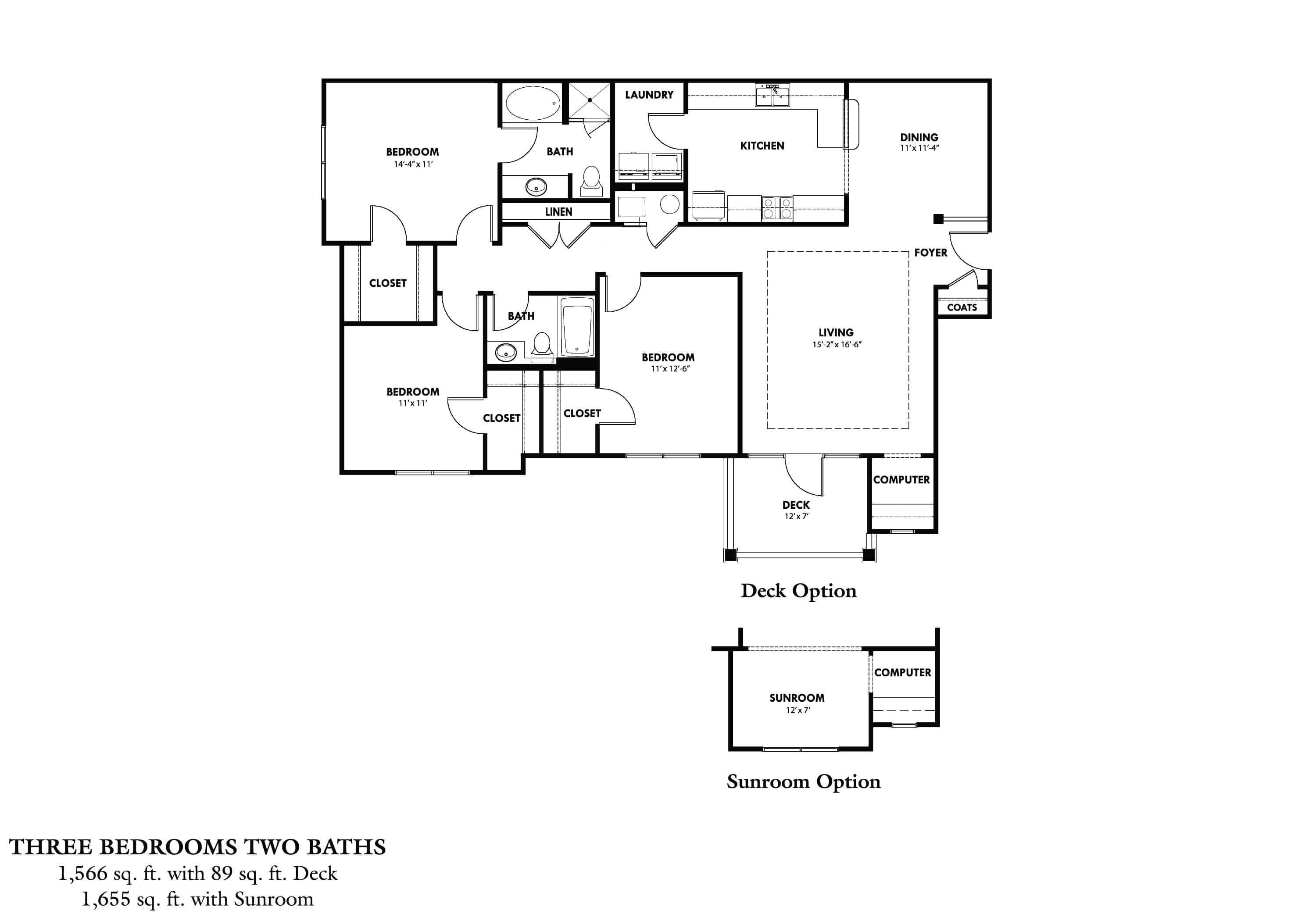 Three Bedroom (CSR) Approx. 1,655 sq. ft. with sunroom Rent From $1,215 Beds 3 Baths 2