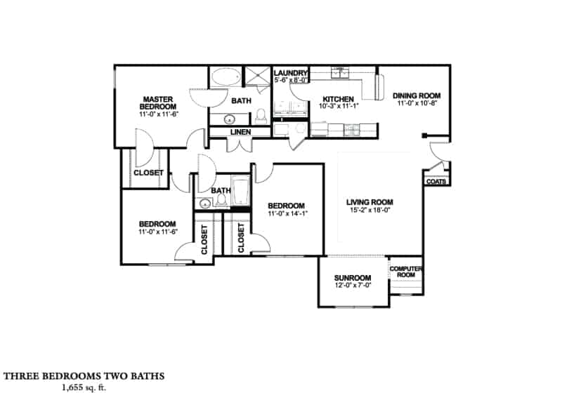 Greystone Properties three bedroom CRS corporate stay floor plan. In Columbus Georgia Apartments