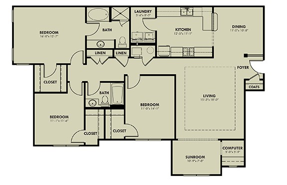 Three Bedroom (CSR) Approx. 1,716 sq. ft. Rent From $1,180 Beds 2 Baths 2