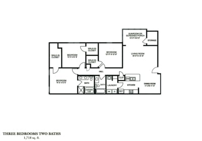 Greystone Properties Columbus, GA Apartments Three Bedroom - PHASE I & PHASE II Approx. 1,718 sq. ft. Beds 2 Baths 2